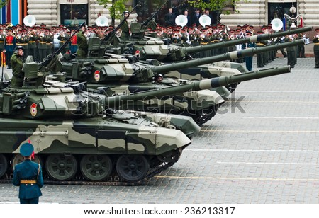 MOSCOW - 6 May 2010: Main battle tank T-90. Dress rehearsal of Military Parade on 65th anniversary of Victory in Great Patriotic War on May 6, 2010 on Red Square in Moscow, Russia - stock photo