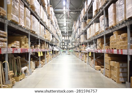 MOSCOW - MAY 21, 2014: Place the products in the self-service stock in shopping center Ikea in Moscow - stock photo