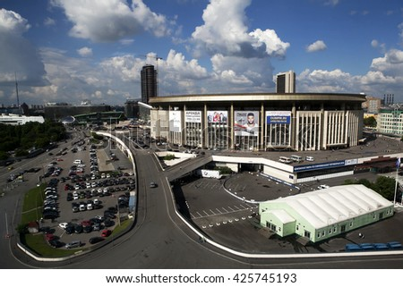 MOSCOW - May 22: Pool of Sports complex Olimpisky, May 22, 2015  in Moscow, Russia. Pool has bath 50 x 25 x 2.2 m, in which all major competitions in swimming, water polo and other water sports. - stock photo