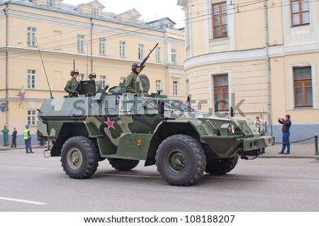 """MOSCOW-MAY 9: Reconnaissance and patrol vehicle KAMAZ-43269 """"DOZOR"""" at the Victory Day Parade on May 9, 2012 in Moscow - stock photo"""