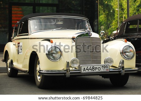 MOSCOW - MAY 15: vintage Mercedes on exhibition at 'Mercedes-Benz Classic Day-2010', massive oldtimer rally, Moscow, Russia, on May 15, 2010 - stock photo