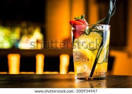 Moscow mule cocktail in a summer party night pub. - stock photo