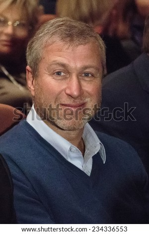 "MOSCOW - NOVEMBER, 26: Chelsea football club owner  Roman Abramovich. Festival of  Contemporary choreography ""Context. Diana Vishneva"" at The Theatre of Mossovet. November 26, 2014 in Moscow, Russia - stock photo"