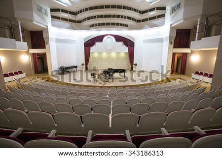 MOSCOW, 13 NOVEMBER, 2015: View of the stage of the concert hall at the Central Music School at the Moscow State Conservatory Tchaikovsky in Moscow, Russia - stock photo