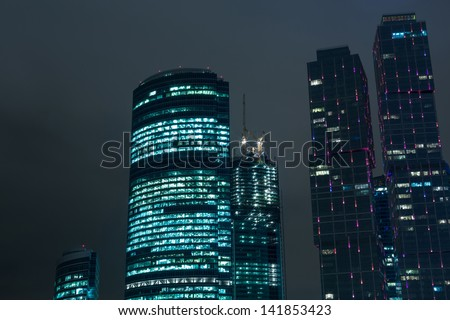 MOSCOW - OCT 9: Cityscape of skyscrapers of Moscow City, Oct 9 2012, Moscow Russia. Moscow City will include area of business activity, which will bring together business, apartment living and leisure - stock photo