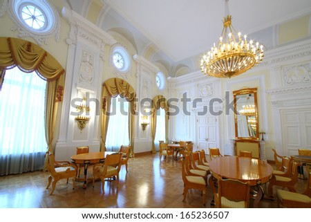 MOSCOW - OCT 10: Living room in the Petroff Palace, on October 10, 2013 in Moscow, Russia. Palace was built in the 18th century - stock photo