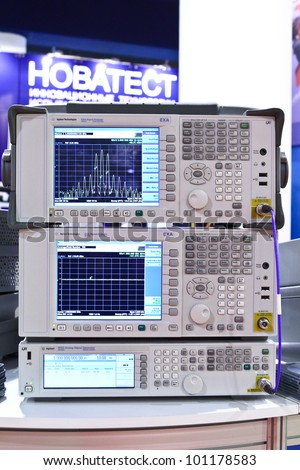 MOSCOW-OCT 5: Signal analyzer at the international exhibition of testing equipment, systems & technologies for aerospace industry on October 5, 2011 in Moscow - stock photo