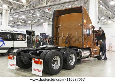 MOSCOW-OCTOBER 26:Bulk tractor T 600 Kenworth American company on display at the international exhibition MAF on October 26, 2011 in Moscow, Russia. - stock photo