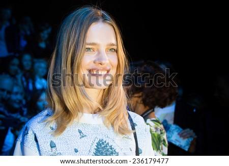 MOSCOW - OCTOBER 23: Famous  Model Natalia Vodianova during Mercedes-Benz Fashion Week Russia on October 23, 2014 in Moscow, Russia. - stock photo