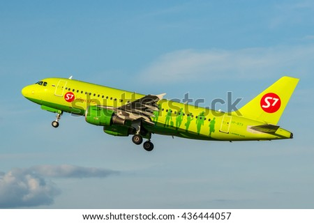Moscow region, Domodedovo, Russia - August 18, 2013: Airbus A319 VP-BTV S7 - Siberia airlines take off at Domodedovo international airport - stock photo