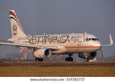 Moscow region, Domodedovo, Russia - November 04, 2014: Airbus A320 Eihad Airways A6-EIT taxiing for take off at Domodedovo International airport. - stock photo