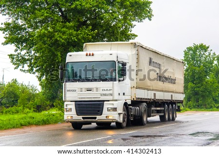 MOSCOW REGION, RUSSIA - MAY 22, 2013: Semi-trailer truck DAF 95XF at the interurban road. - stock photo