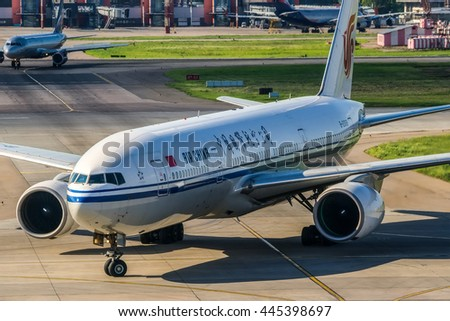 Moscow region, Sheremetyevo airport, Russia - June 15, 2013: Boeing 777-200 B-2068 Air China taxiing to parking after landing at Sheremetyevo International airport. - stock photo