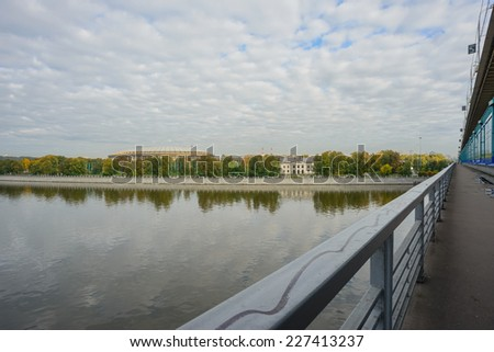 Moscow River embankment. View Metro bridge station Sparrow Hills - stock photo