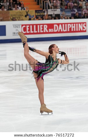 """MOSCOW, RUSSIA - APR 30: Alena Leonova competes in the single ladies free figure skating during the 2011 World Championship Figure Skating event at the Palace of Sports, """"Megasport"""", on April 30, 2011 in Moscow, Russia. - stock photo"""