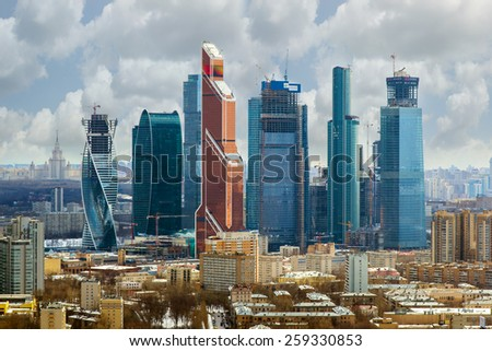 MOSCOW, RUSSIA - APR 1, 2014: Modern skyscrapers of Moscow City business complex. Moscow City include area of business activity, which will bring together business, apartment - stock photo