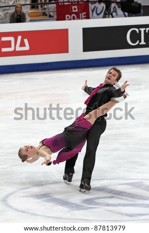 "MOSCOW, RUSSIA - APR 30: World championship on figure skating 2011. Alexander Shakalov and Siobhan Heekin-Canedy in pair ice dance. Palace of sports ""Megasport"" on April 30, 2011 in Moscow. - stock photo"