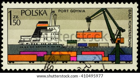 """MOSCOW, RUSSIA - APRIL 25, 2016: A stamp printed in Poland shows ship in Polish Harbour Gdynia, series """"Polish Harbours"""", circa 1976 - stock photo"""