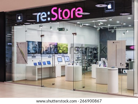 Moscow, Russia - April 4, 2015: Apple Store in Moscow. Apple is one of the pioneers in the field of personal computers and modern multitasking operating systems with a graphic interface - stock photo