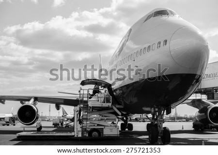 MOSCOW, RUSSIA - APRIL 22, 2013: British Airways jet aircraft in Domodedovo airport of Moscow on April 22, 2013. British Airways is the flag carrier airline of the United Kingdom - stock photo