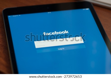 MOSCOW, RUSSIA - APRIL 27, 2015: Facebook is online social networking service. It was founded in 2004 by Mark Zuckerberg - stock photo