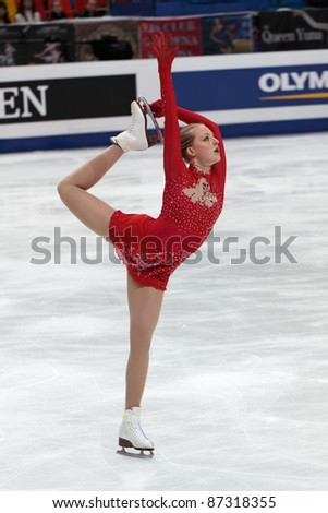 """MOSCOW, RUSSIA - APRIL 30: Ira Vannut competes at the single ladies free figure stating event during the 2011 World championship on April 30, 2011 at the Palace of sports """"Megasport"""" in Moscow, Russia. - stock photo"""