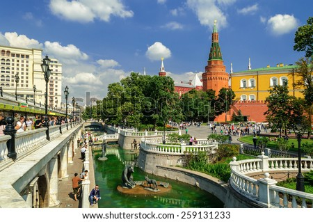 MOSCOW, RUSSIA - AUGUST 12, 2012. Alexander Garden  and Moscow Kremlin - stock photo