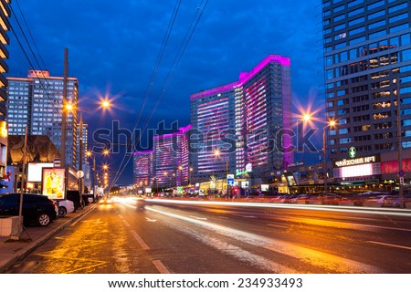 MOSCOW, RUSSIA - AUGUST 23, 2014: Buildings at New Arbat Street after sunset. New Arbat is located in the central part of Moscow - stock photo