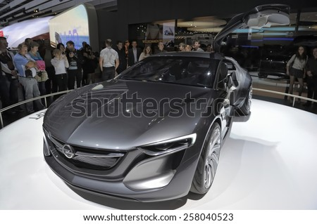Moscow, Russia - August 30, 2014: Concept car Opel Monza, Moscow International Automobile Salon 2014 (MIAS 2014) - stock photo