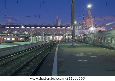 MOSCOW, RUSSIA - AUGUST 16: Exterior of Moscow railway station (Kazanskyj vokzal) at early morning time on August 16, 2014 in Moscow, Russia.  - stock photo
