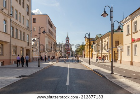 MOSCOW, RUSSIA - AUGUST 24 2014: Pyatnitskaya street after renovation with locals and tourists. Moscow city government reconstruct whole street conception and made it pedestrianized at weekends. - stock photo