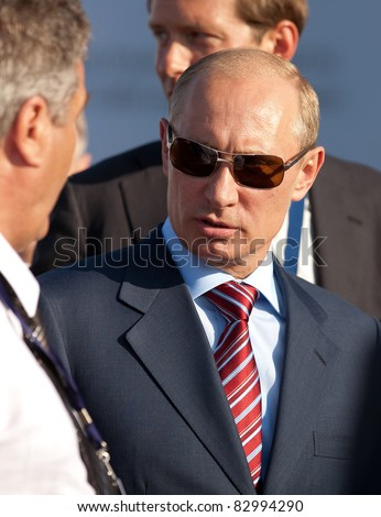 MOSCOW, RUSSIA - AUGUST 17: Vladimir Putin, Russian Prime Minister  at the International Aviation and Space salon MAKS. August,17, 2011 at Zhukovsky, Russia - stock photo