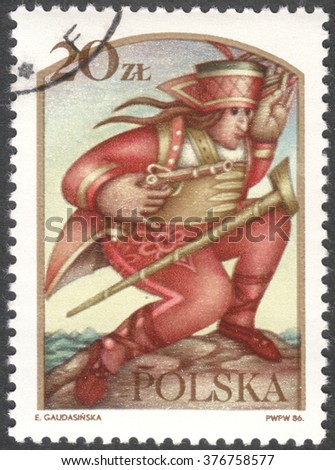 """MOSCOW, RUSSIA - CIRCA FEBRUARY, 2016: a post stamp printed in POLAND shows Janosik the Robber, the series """"Polish legends"""", circa 1986 - stock photo"""