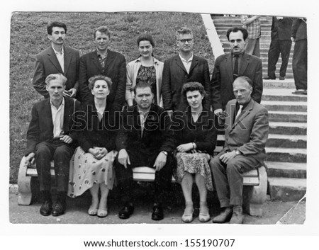 MOSCOW, RUSSIA � CIRCA 1940: Group of an unidentified people - stock photo