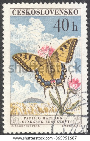 """MOSCOW, RUSSIA - CIRCA JANUARY, 2016: a post stamp printed in CZECHOSLOVAKIA shows a butterfly with the inscription """"Papilio machaon"""", the series """"Butterflies and Moths"""", circa 1961 - stock photo"""