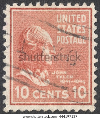 "MOSCOW, RUSSIA - CIRCA JUNE, 2016: a post stamp printed in the USA shows a portrait of the President John Tyler, the series ""Presidential Issue"" circa 1938 - stock photo"