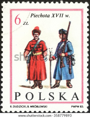 "MOSCOW, RUSSIA - DECEMBER, 2015: a post stamp printed in POLAND shows foot soldiers, the series ""The 300th Anniversary of the Victory over the Turks on Kahlenberg near Vienna, circa 1983 - stock photo"