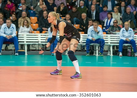 MOSCOW, RUSSIA - DECEMBER 2, 2015: Anna Malova (Dynamo (MSC) 3 while playing on women's Rissian volleyball Championship game Dynamo (MSC) vs Dynamo (KZN) at the Luzhniki stadium in Moscow, Russia - stock photo