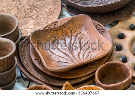 MOSCOW, RUSSIA - DECEMBER 27, 2015: Christmas exhibition at the Central Telegraph, Moscow, Tverskaya street. Pottery, handmade. - stock photo