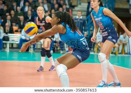 MOSCOW, RUSSIA - DECEMBER 2, 2015: Fernanda Garay Rodriguez (Dynamo (MSC) 16, while playing on women's Rissian volleyball Championship game Dynamo (MSC) vs Dynamo (KZN) at the Luzhniki Moscow, Russia - stock photo