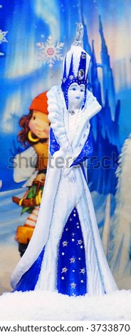 MOSCOW RUSSIA - 17 December 2015 - Porcelain figurine the Snow Queen at the Christmas sale at GUM december 2015 in Moscow. - stock photo