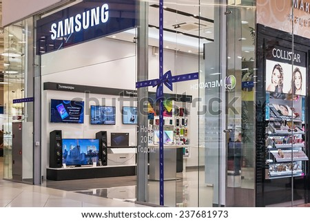 Moscow, Russia - December 14.2014: Samsung Showcases salon in the mall Aviapark.The total area is 390,000 square meters, sales area - 230,000 square meters, making it the largest in Europe - stock photo