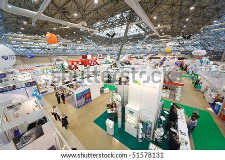 "MOSCOW, RUSSIA - DECEMBER 10: The largest exhibition of medical technologies in Russia ""Healthcare-2009"" in Moscow December 10, 2009 in Moscow, Russia. - stock photo"