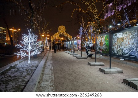 MOSCOW, RUSSIA - DECEMBER 04, 2014: The view of open air photo exposition on Tverskoy boulevard in Moscow with Christmas lights - stock photo