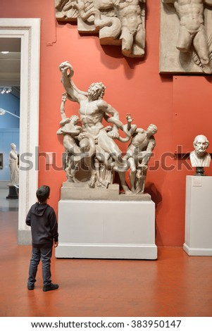 MOSCOW, RUSSIA - FEBR 28, 2016:Pushkin Museum of Fine Arts. Its first exhibits were copies of ancient statuary for education of students. Greek Art of Late Classical and Hellenistic Periods - stock photo