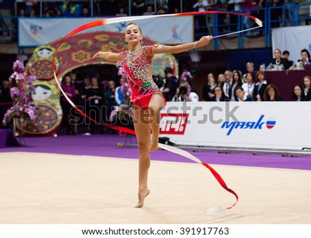 MOSCOW, RUSSIA - FEBRUARY 20, 2016: Arina Averina, Russiam, on Rhythmic gymnastics Alina Cup Grand Prix Moscow - 2016 on February 20, 2016, in Moscow, Russia - stock photo