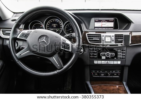 MOSCOW, RUSSIA - FEBRUARY 5, 2016: Interior of the modern luxury car Mercedes-Benz W212 E200. - stock photo