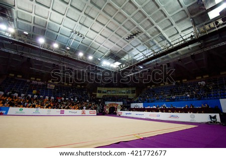 MOSCOW, RUSSIA - FEBRUARY 20, 2016: Interrior of sport arena Druzhba just before Rhythmic gymnastics Alina Cup Grand Prix Moscow - 2016 on February 20, 2016, in Moscow, Russia - stock photo