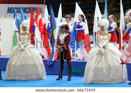 "MOSCOW, RUSSIA - FEBRUARY 13: Opening 2010 RFF ""Moscow Saber"" World Fencing Tournament, is a one of the most prestigious international competitions in fencing, February 13, 2010 in Moscow, Russia. - stock photo"