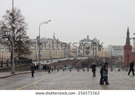 Moscow, Russia - February 28, 2015. View of the site of the murder of politician Boris Nemtsov - stock photo